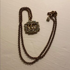 Gucci GG marmont Crystal necklace gold